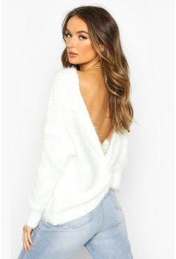 Womens Cream Oversized Twist Knot Back Feather Knit Jumper