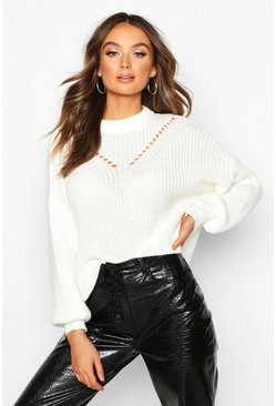 Womens Cream Oversized Balloon Sleeve Jumper