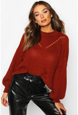 Womens Rust Oversized Balloon Sleeve Jumper