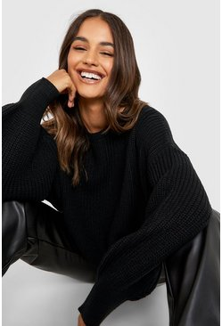 Black Oversized Balloon Sleeve Crop Sweater