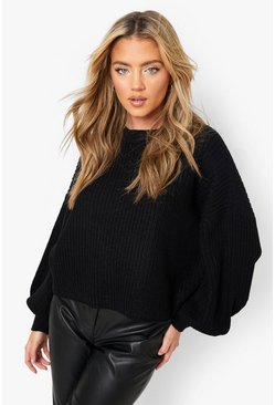 Black Oversized Balloon Sleeve Crop Jumper