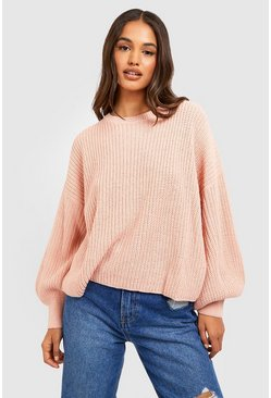 Womens Blush Oversized Balloon Sleeve Crop Jumper