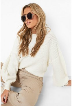 Womens Cream Oversized Balloon Sleeve Crop Jumper