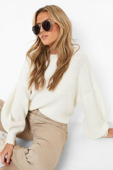 Cream Oversized Balloon Sleeve Crop Jumper
