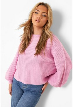 Lilac Oversized Balloon Sleeve Crop Jumper