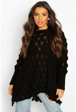 Womens Black Oversized Bobble Knit Jumper