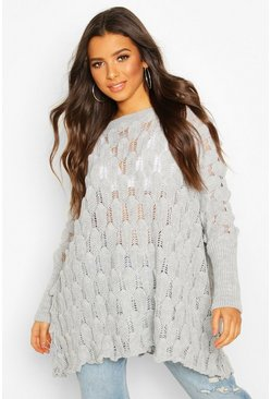 Womens Grey Oversized Bobble Knit Jumper