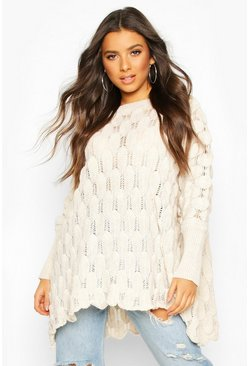 Stone Oversized Bobble Knit Jumper