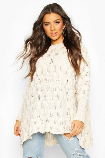 Womens Stone Oversized Bobble Knit Jumper