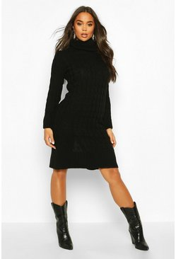 Black Cable Knitted Roll Neck Midi Dress