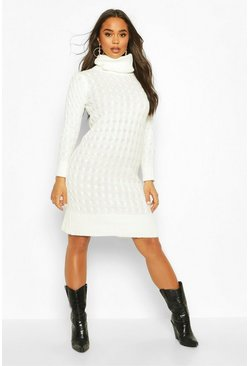 Cream Cable Knitted Roll Neck Midi Dress