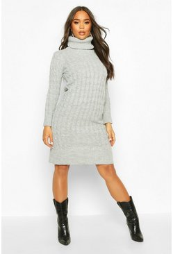 Womens Silver Cable Knitted Roll Neck Midi Dress