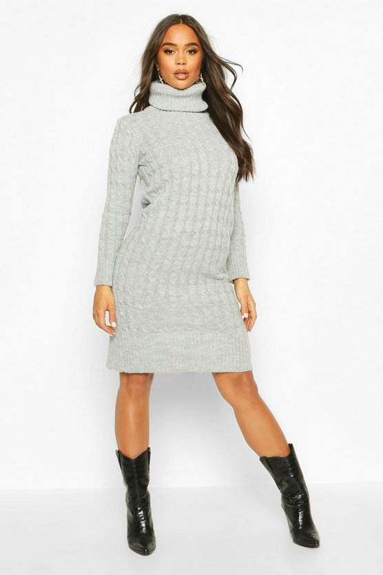 Cable Knitted Roll Neck Midi Dress