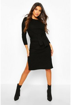 Black Rib Knit Tie Waist Midaxi Dress