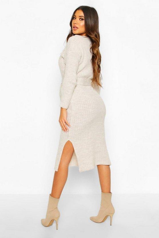 Rib Knit Tie Waist Midaxi Dress