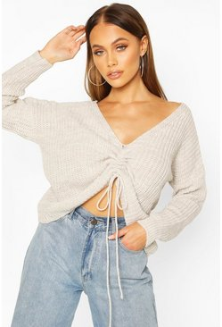 Stone Ruched Tie Front Jumper