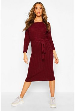 Berry Rib Knitted Midaxi Belted Dress