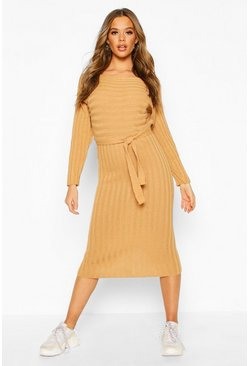 Womens Camel Rib Knitted Midaxi Belted Dress