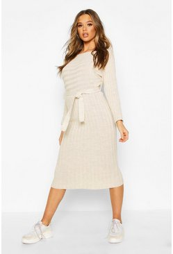Stone Rib Knitted Midaxi Belted Dress