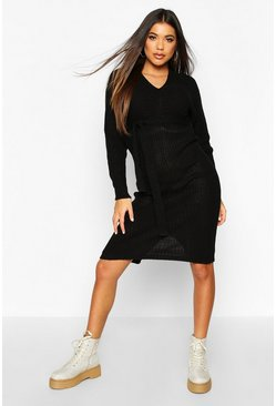 Black Rib Knit Midaxi Tie Waist Dress