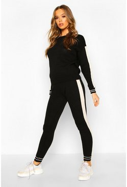Womens Black Sport Stripe Knitted Lounge Set