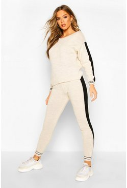 Stone Sport Stripe Knitted Lounge Set