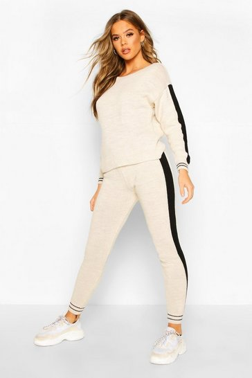 Womens Stone Sport Stripe Knitted Lounge Set