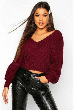 Womens Wine Oversized Batwing Rib Knit Jumper