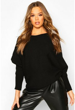 Womens Black Oversized Batwing Knitted Jumper