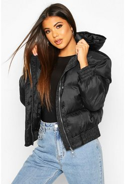 Womens Black Hooded Short Puffer Jacket