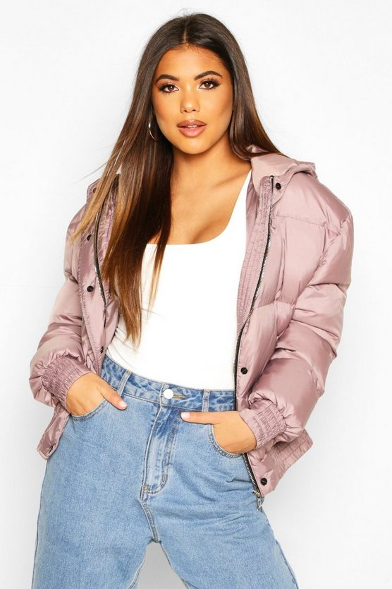 Mauve Hooded Short Puffer Jacket