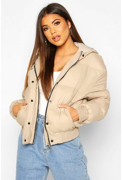 Stone Hooded Short Puffer Jacket