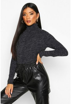 Womens Black Roll Neck Panel Rib Knit Jumper