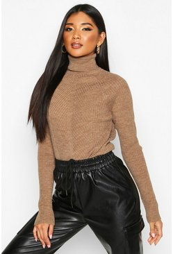 Womens Camel Roll Neck Panel Rib Knit Jumper