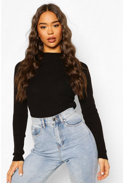 Black Knitted Rib Jumper