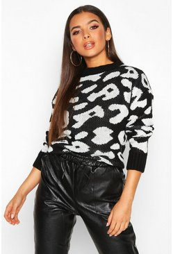Womens Black Animal Leopard Jumper