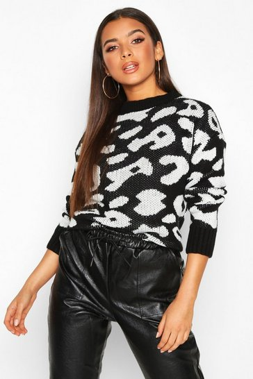 Black Animal Leopard Jumper