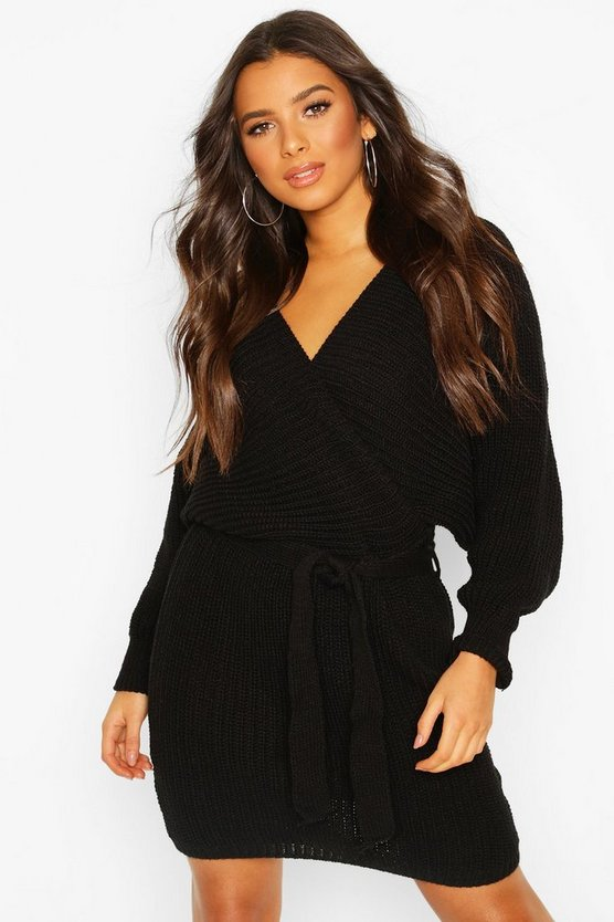Rib Knit Wrap Knitted Dress