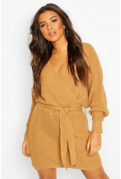 Camel Rib Knit Wrap Knitted Dress