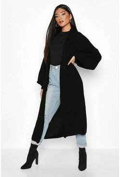 Black Oversized Balloon Sleeve Cardigan