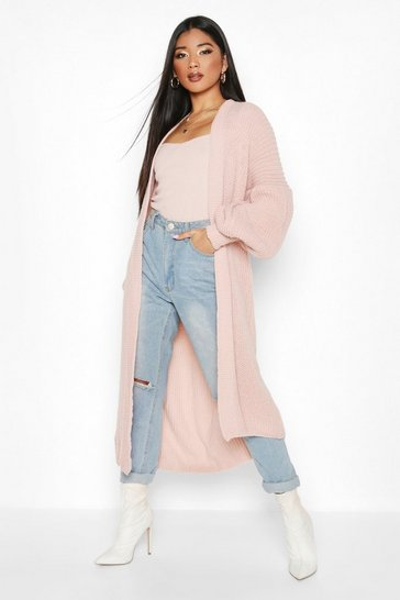Womens Blush Oversized Balloon Sleeve Cardigan