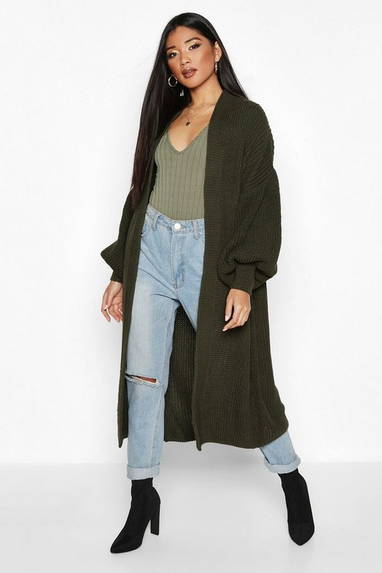 Womens Khaki Oversized Balloon Sleeve Cardigan