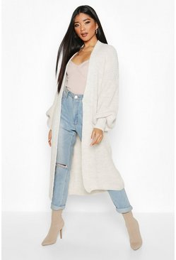 Stone Oversized Balloon Sleeve Cardigan