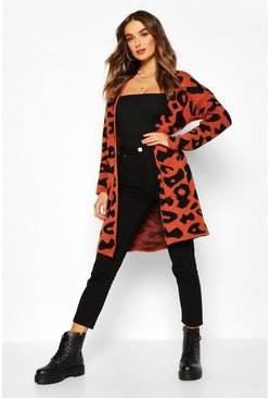 Womens Tobacco Leopard Knitted Cardigan
