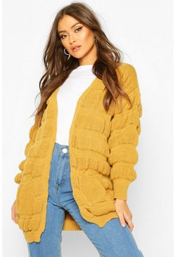 Womens Mustard Bubble Knit Edge To Edge Cardigan