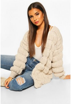 Stone Bubble Knit Edge To Edge Cardigan