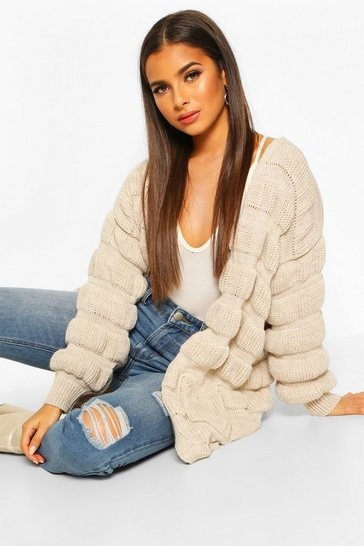 Womens Stone Bubble Knit Edge To Edge Cardigan