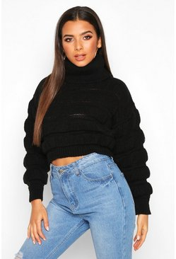 Womens Black Bubble Knit Turtle Neck Jumper
