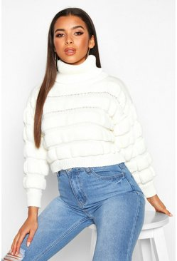 Womens Cream Bubble Knit Turtle Neck Jumper