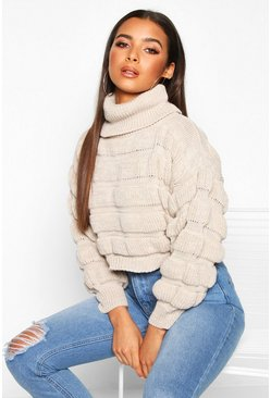 Stone Bubble Knit Turtle Neck Jumper